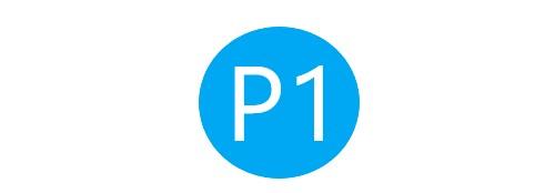P1駐車場連絡通路のマーク