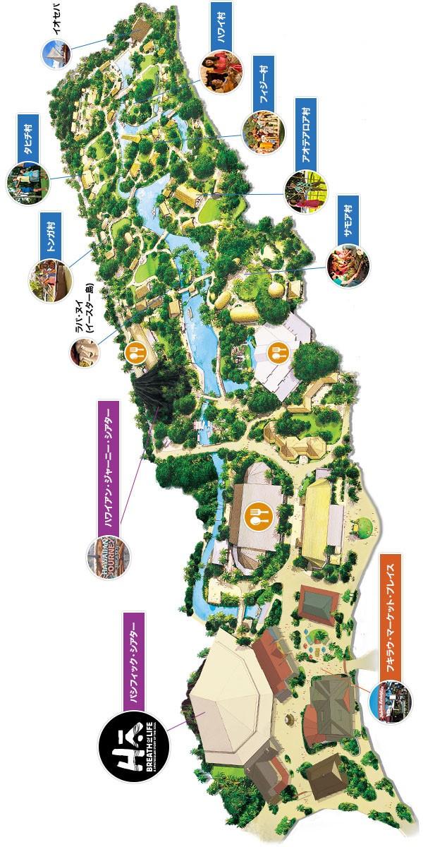 ポリネシアカルチャーセンターの地図